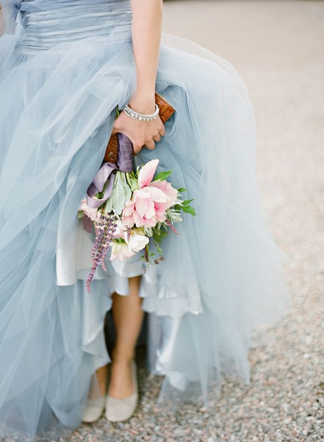Pantone 2016 inspo wedding dress and flowers
